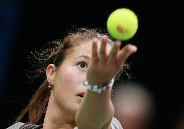 Daria Kasatkina (Russia) at a training session before the 2016 Fed Cup quarterfinal match between Russia and the Netherlands.