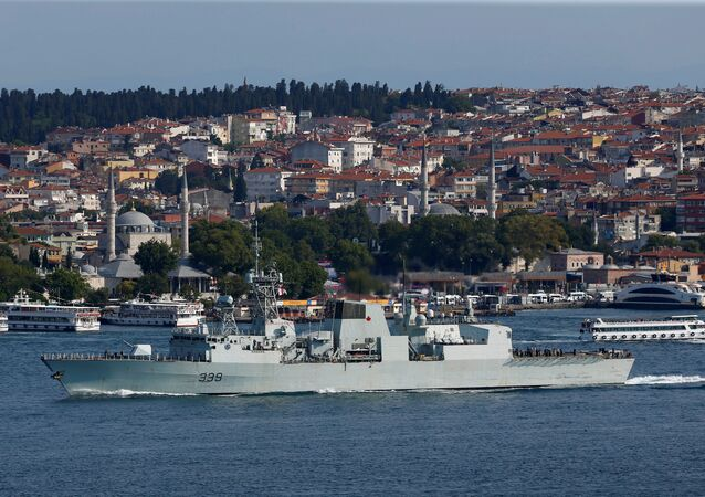 Royal Canadian Navy's Halifax-class frigate HMCS Charlottetown sets sail in the Bosphorus, on its way to the Black Sea in Istanbul, Turkey.
