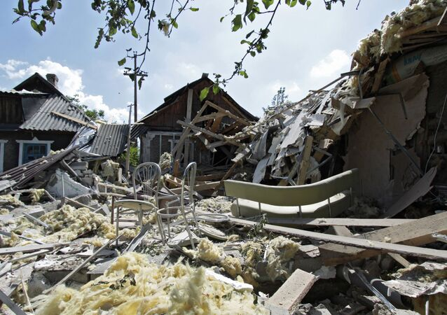 Houses destroyed in shelling of Petrovsky District in Donetsk