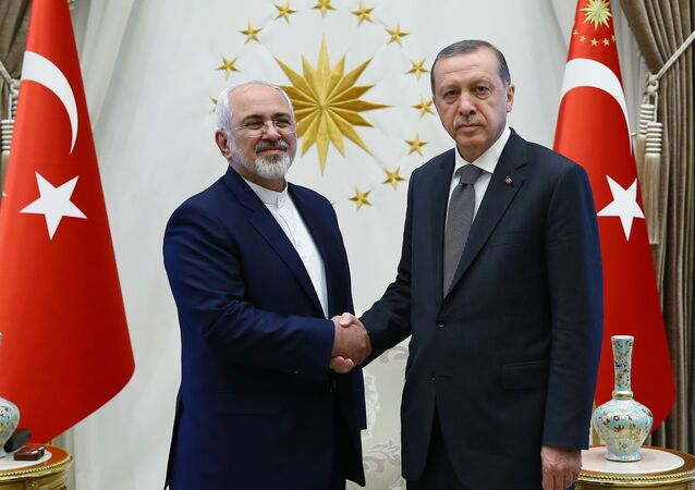 Turkish President Recep Tayyip Erdogan, right, shake hands with the Iranian Foreign Minister Mohammad Javad Zarif, during their meeting in Ankara, Friday, Aug. 12, 2016