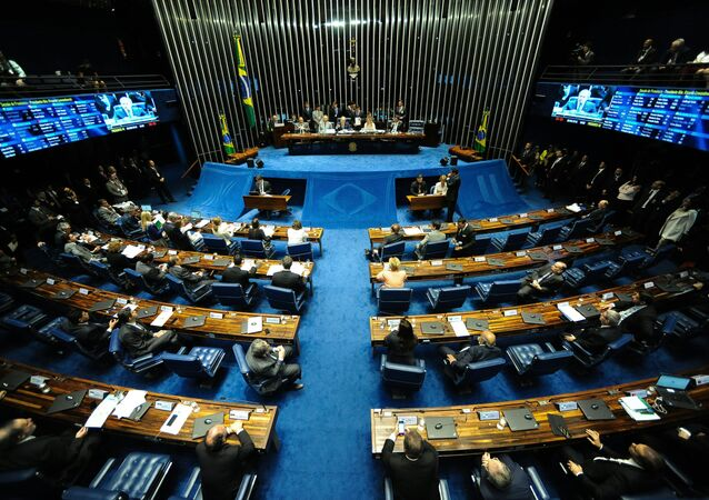 View of the senate plenary session during the voting session of the suspended President Dilma Rousseff's impeachement committee in Brasilia on August 9, 2016