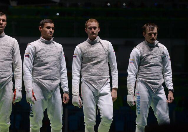 Russia's Dmitriy Zherebchenko, Timur Safin, Artur Akhmatkhuzin and Aleksey Cheremisinov