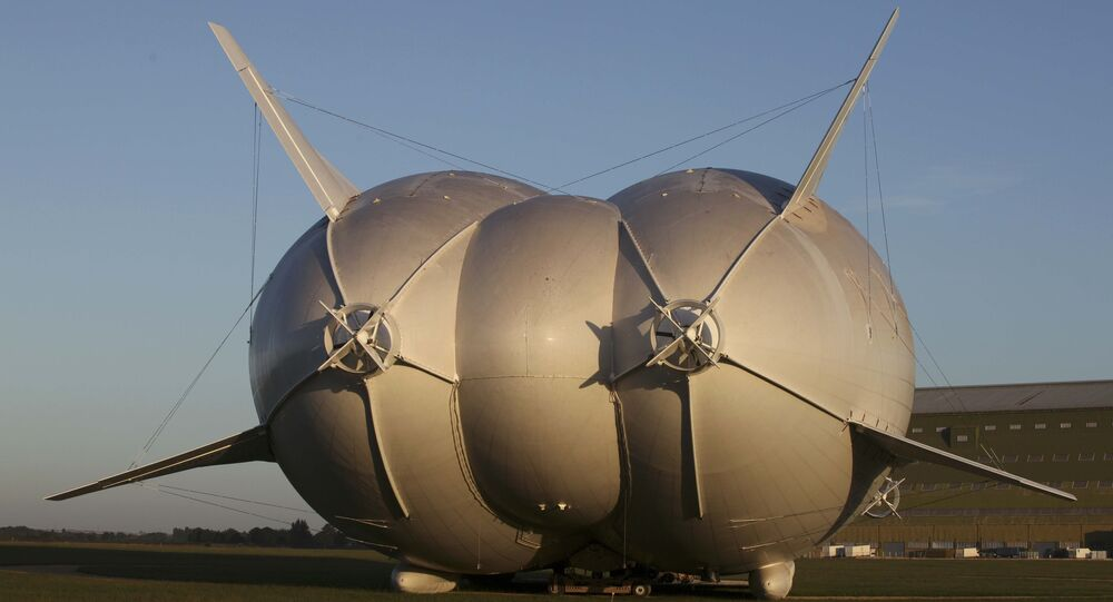 The Airlander 10 hybrid airship is seen after it recently left the hangar for the first time to commence ground systems tests before its maiden flight, at Cardington Airfield in Britain August 9, 2016