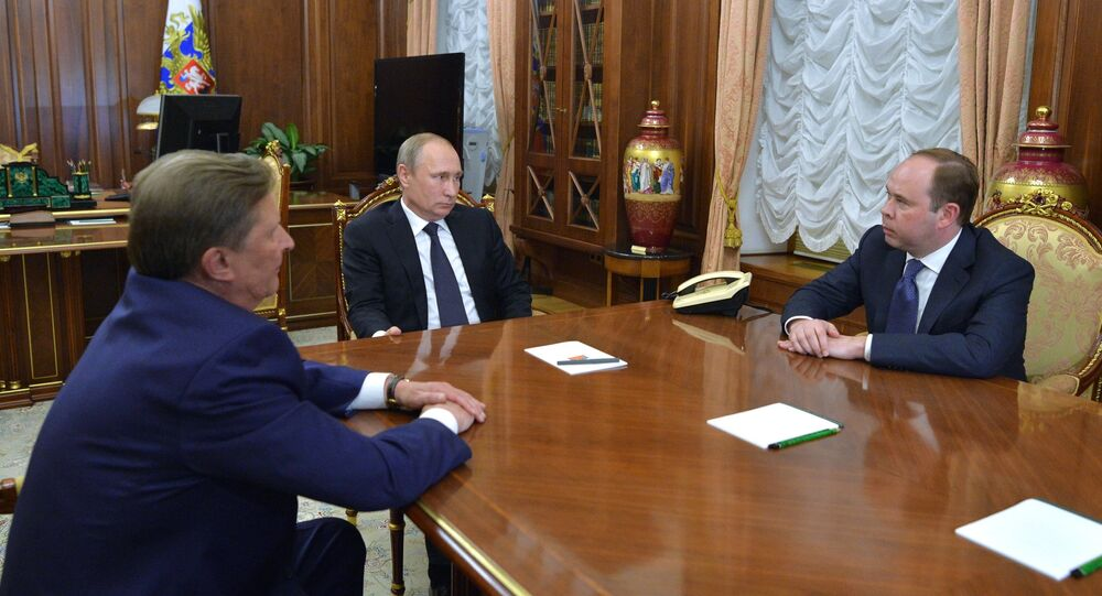 President Vladimir Putin meets with Sergei Ivanov and Anton Vaino