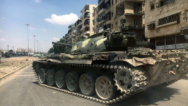 A tank on a frontline in south-western Aleppo, Syria - Sputnik International