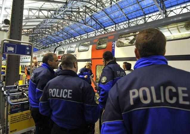 Policemen stand on a platform. Switzerland (File)