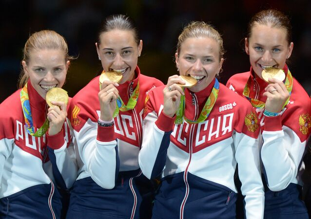 The Russian female's sabre fencing team which won gold at Rio Olympics
