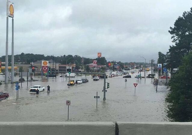 Floodwaters are seen on Range Road and I-12 in Denham Springs, Livingston Parish, Louisiana, US, August 13, 2016