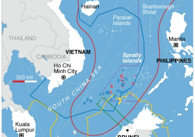 Map showing countries' claims in the South China Sea.