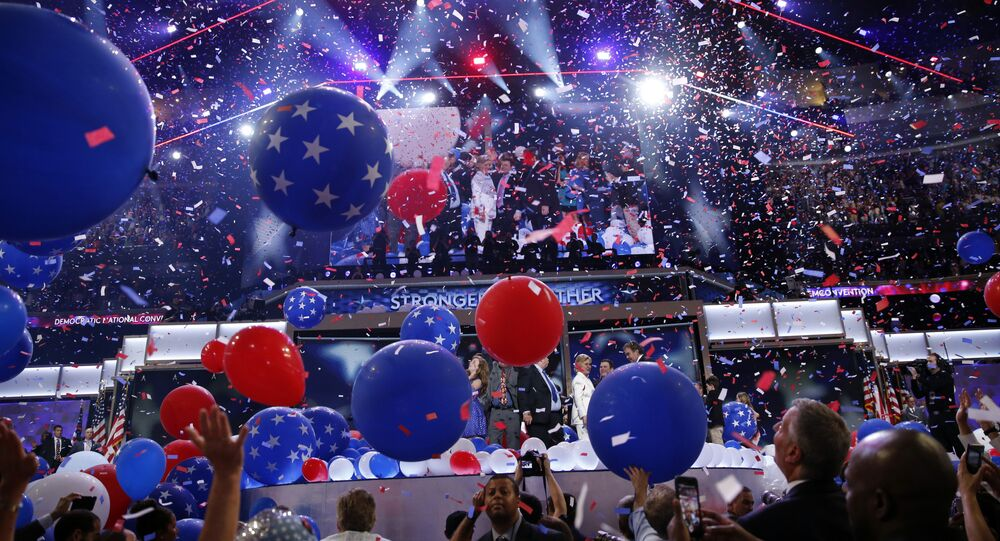 Balloons fall after Democratic presidential nominee Hillary Clinton spoke during the final day of the Democratic National Convention, Thursday, July 28, 2016, in Philadelphia