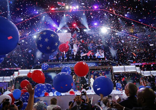 Balloons fall after Democratic presidential nominee Hillary Clinton spoke during the final day of the Democratic National Convention, July 28, 2016, in Philadelphia
