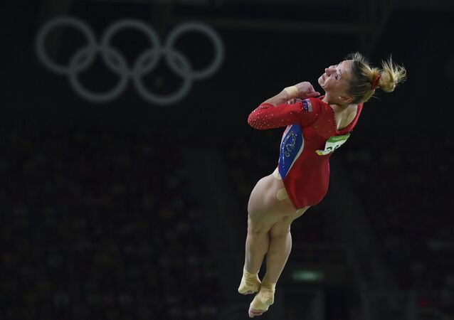 Russia's Maria Paseka competes in the women's vault event final of the Artistic Gymnastics at the Olympic Arena during the Rio 2016 Olympic Games in Rio de Janeiro on August 14, 2016