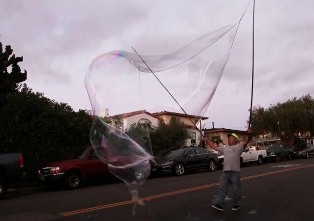 Bubble Man Practices Making Bubbles