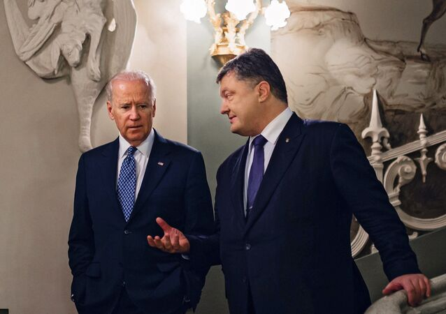 Ukrainian President Petro Poroshenko meets with Vice President of the United States Joe Biden
