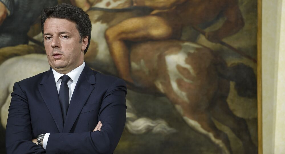 Italian Prime Minister Matteo Renzi speaking during a press conference at the Palazzo Chigi in Rome on June 20, 2016 after Italy's populist movement notched up spectacular gains at the municipal elections