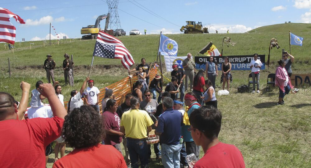 Lakota Activists and Supporters Protest Construction of the Dakota Access Pipeline in North Dakota
