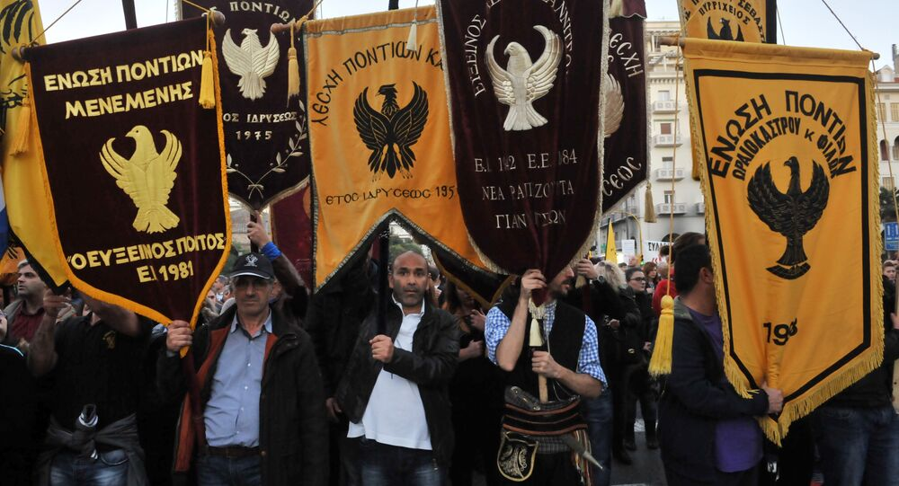 Pontic Greeks (Pontians) who originate mainly from the region of Pontus on the shores of the Black Sea gather during a protest in Thessaloniki, northern Greece. (File)