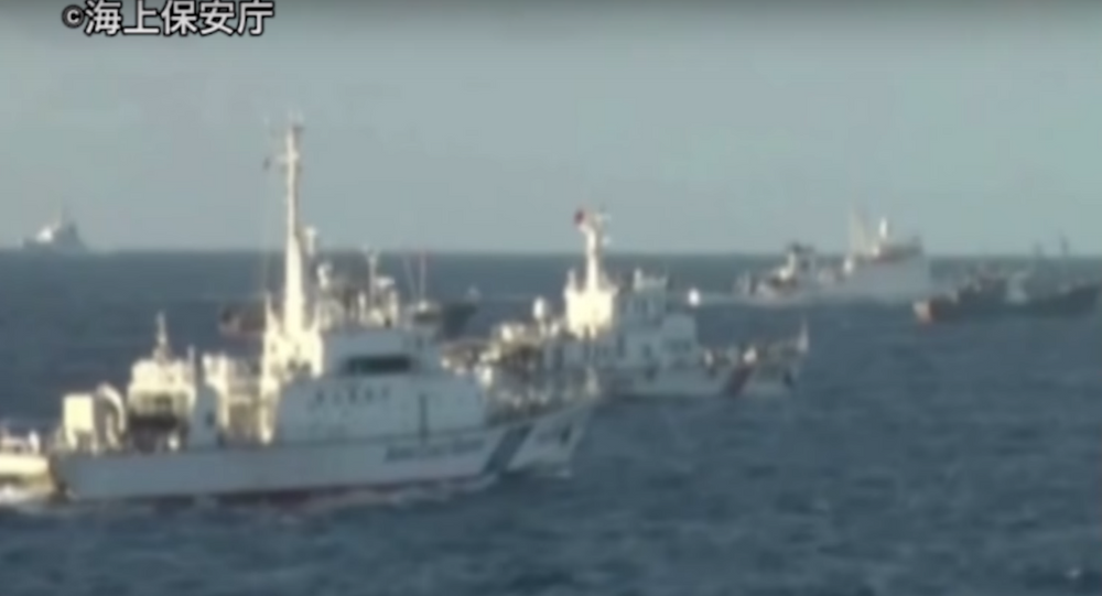 Chinese Coast Guard ships allegedly violating Japanese waters near the Senkaku islands