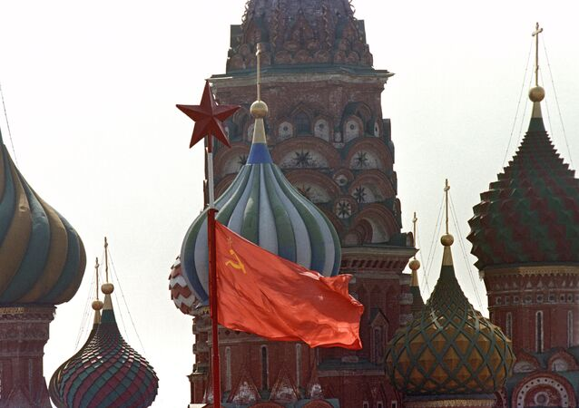 The USSR flag at the Red Square on the May Day (file)