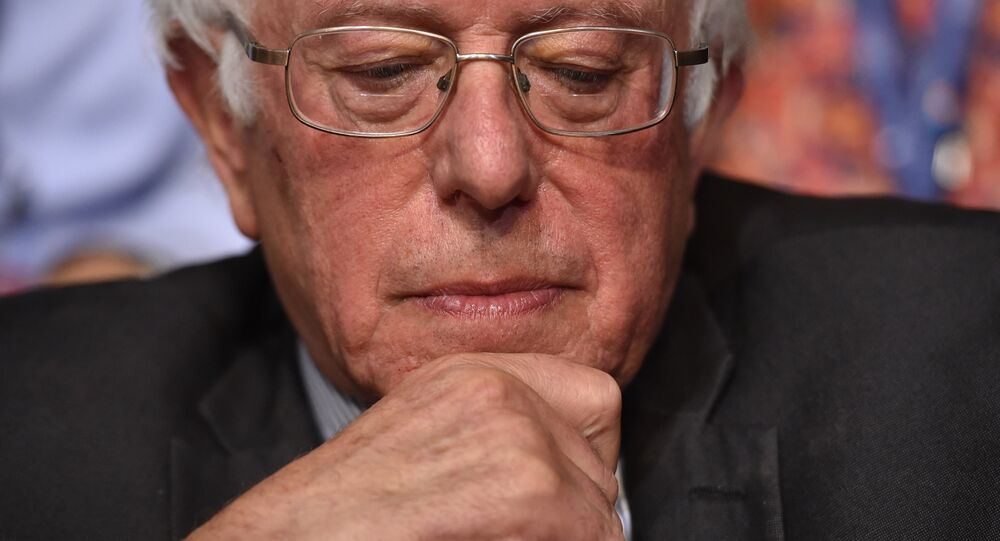 Senator Bernie Sanders looks on after the Vermont delegation cast their votes during roll call on the second day of the Democratic National Convention at the Wells Fargo Center, July 26, 2016