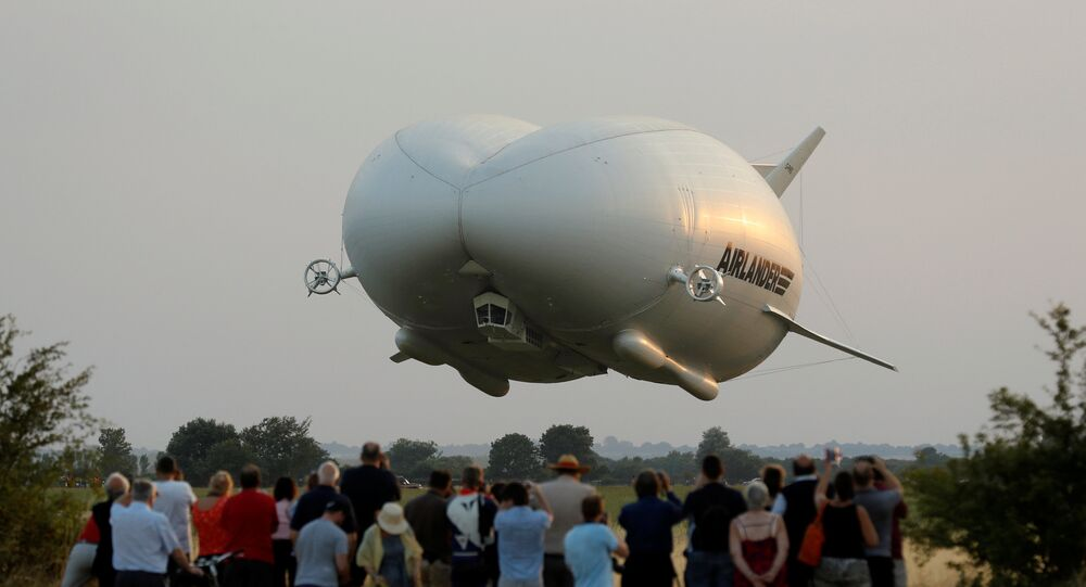 The Airlander 10 hybrid airship makes its maiden flight at Cardington Airfield in Britain, August 17, 2016.