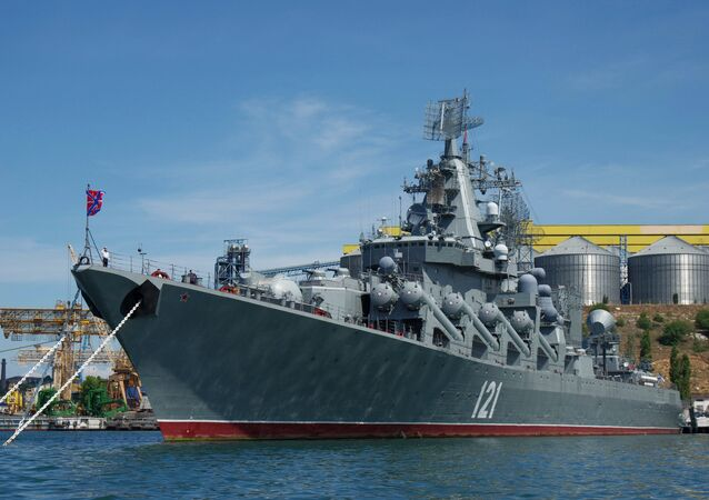The guided missile cruiser Moskva in its base in Sevastopol.