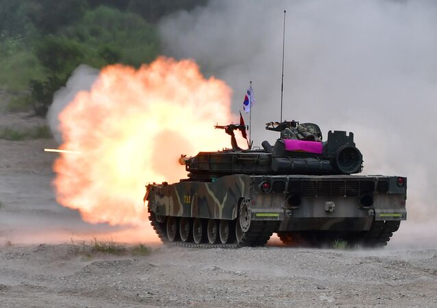 South Korea's K-1 tank fires during a joint military drill between US and South Korean Marines