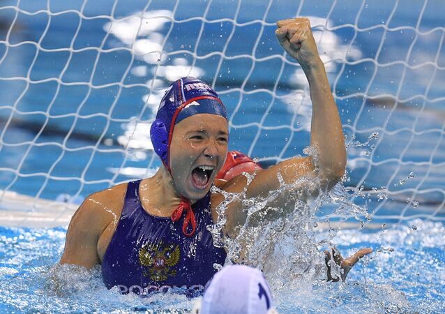 Anna Grineva (Russia) during the bronze medal match in women's water polo at the XXXI Summer Olympics