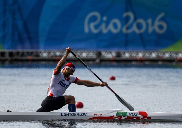 Russian canoeist Ilia Shtokalov at the Rio Olympics in men's canoe singles at 1,000 meters (3280 feet)