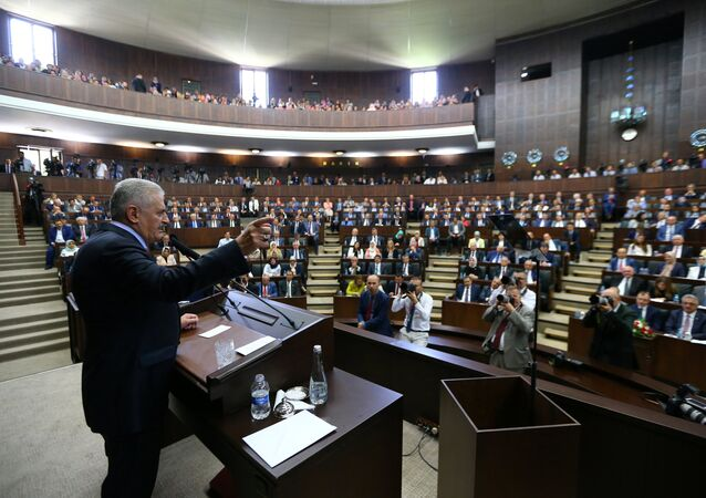 Turkey's Prime Minister Binali Yildirim addresses members of parliament from his ruling AK Party (AKP) during a meeting at the Turkish parliament in Ankara, Turkey (File)