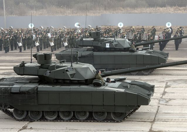T-14 Armata tank of the Central Military District's Moscow Garrison during a rehearsal for the military parade to mark the 71st anniversary of victory in the Great Patriotic War, at Alabino training field in the Moscow Region