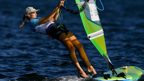 Stefaniya Yelfutina (Russia) during the women's RS:X sailing event at the XXXI Summer Olympics - Sputnik International