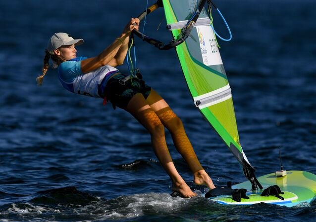 Stefaniya Yelfutina (Russia) during the women's RS:X sailing event at the XXXI Summer Olympics
