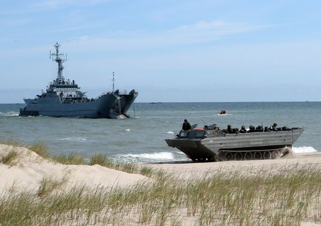 NATO troops make a massive amphibious landing off the coast of Ustka, northern Poland, during NATO military sea exercises BALTOPS (Baltic Operations) on June 17, 2015 in the Baltic Sea