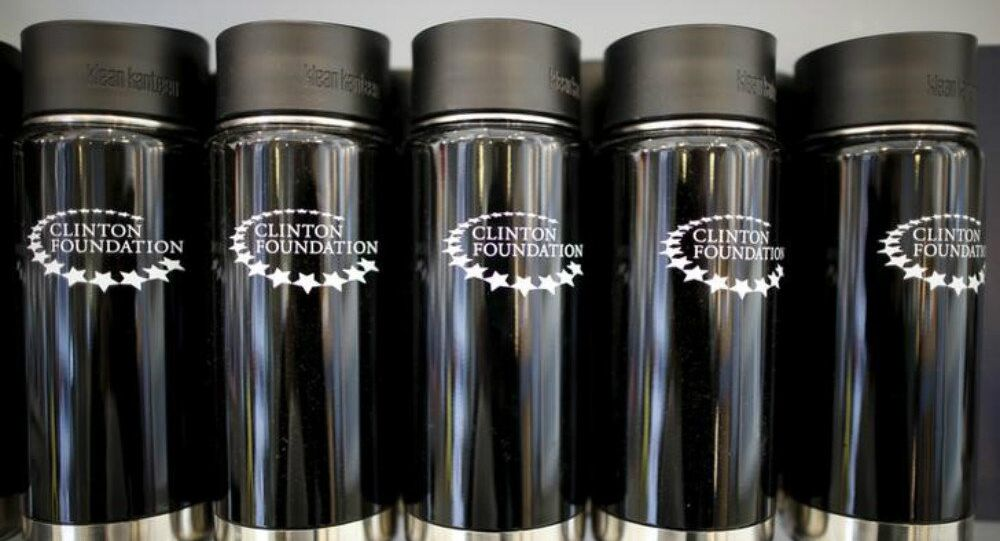 Clinton Foundation water bottles are seen for sale at the Clinton Museum Store in Little Rock, Arkansas, United States April 27, 2015