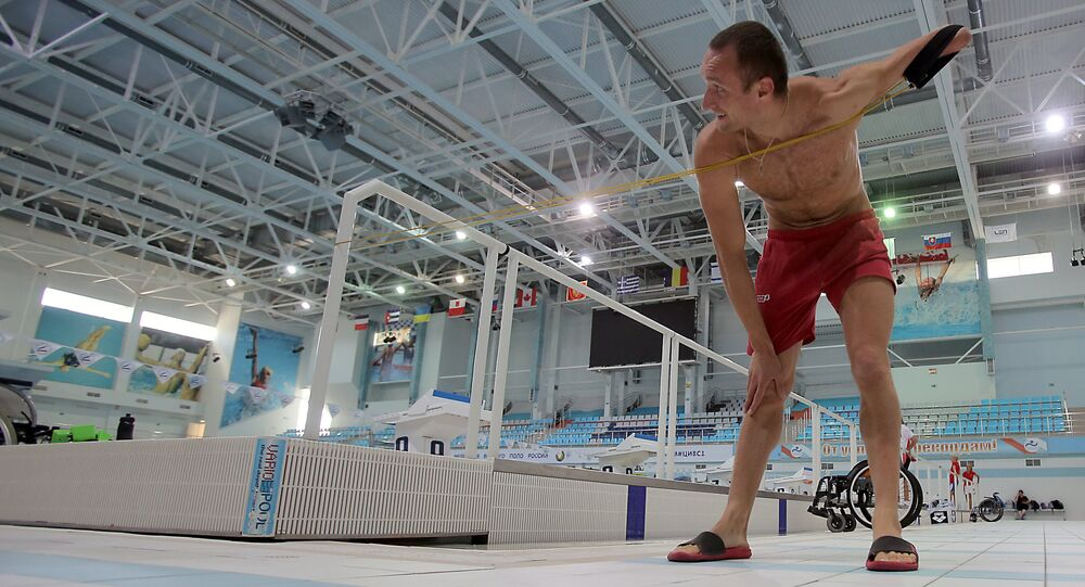 Russian Paralympic swimming team during training session