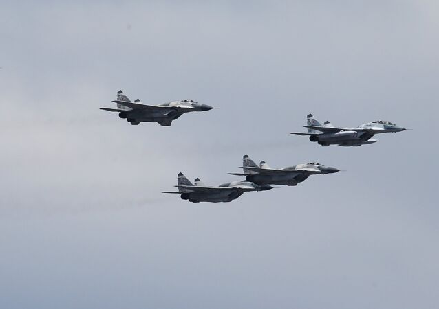MiG-29 SMT aircraft at the rehearsal of the aerial part of the military parade to mark the 70th anniversary of Victory in 1941-1945 Great Patriotic War