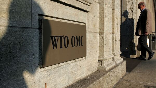 The shadow of a sculpture is reflected on the World Trade Organisation, WTO sign near the entrance of the headquarters, in Geneva (File) - Sputnik International