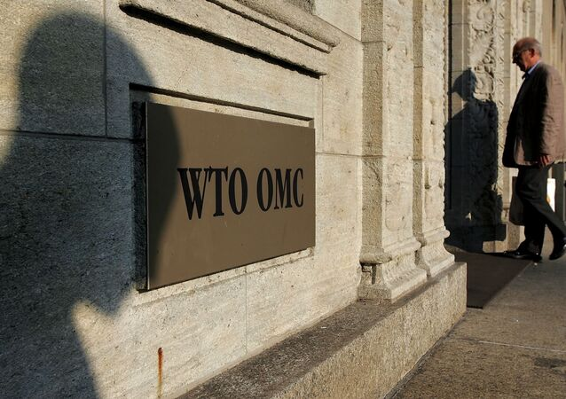 The shadow of a sculpture is reflected on the World Trade Organisation, WTO sign near the entrance of the headquarters, in Geneva (File)
