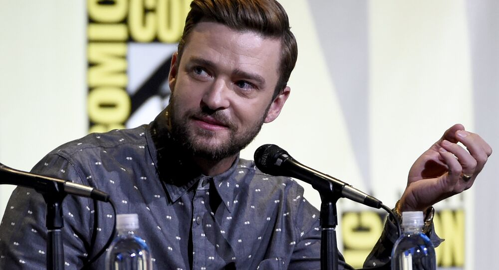 Justin Timberlake attends the Trolls panel on day 1 of Comic-Con International on Thursday, 21 July 2016, in San Diego