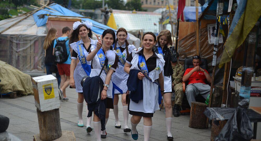 School graduates pn Independence Square in Kiev