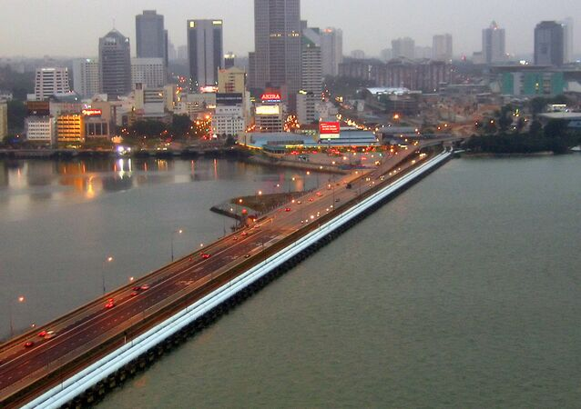 The Johor-Singapore Causeway as viewed from the Woodlands Checkpoint in Singapore towards Johor Bahru, Malaysia.