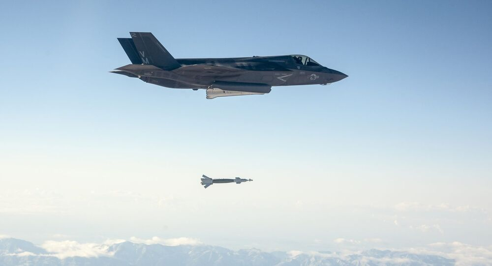 F-35 Lightning Drops a Paveway II Laser Guided Bomb.