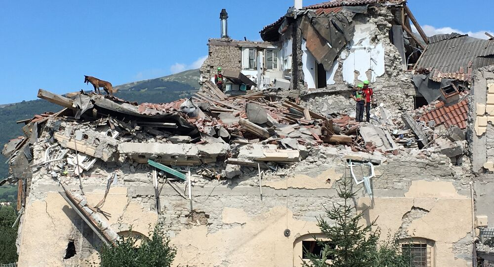 Buildings destroyed by an earthquake in Amatrice