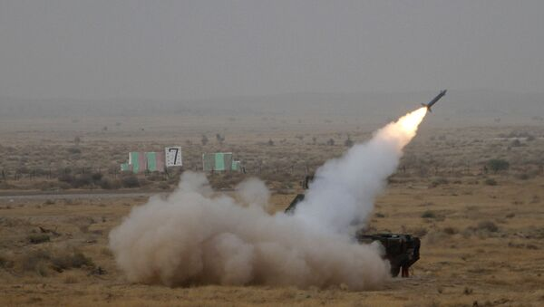 A surface to air missile is launched during exercise 'Iron Fist' at Pokhran, India - Sputnik International