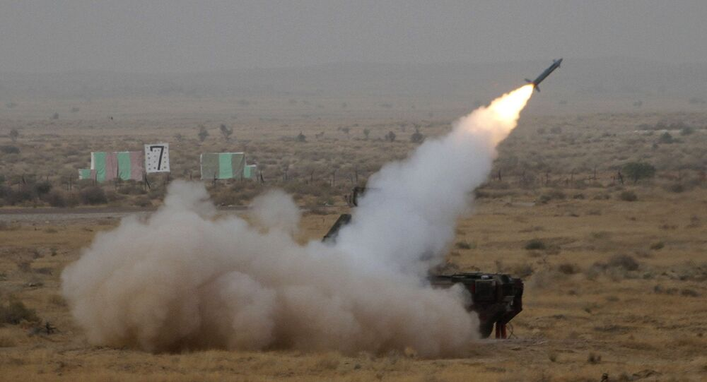 A surface to air missile is launched during exercise 'Iron Fist' at Pokhran, India