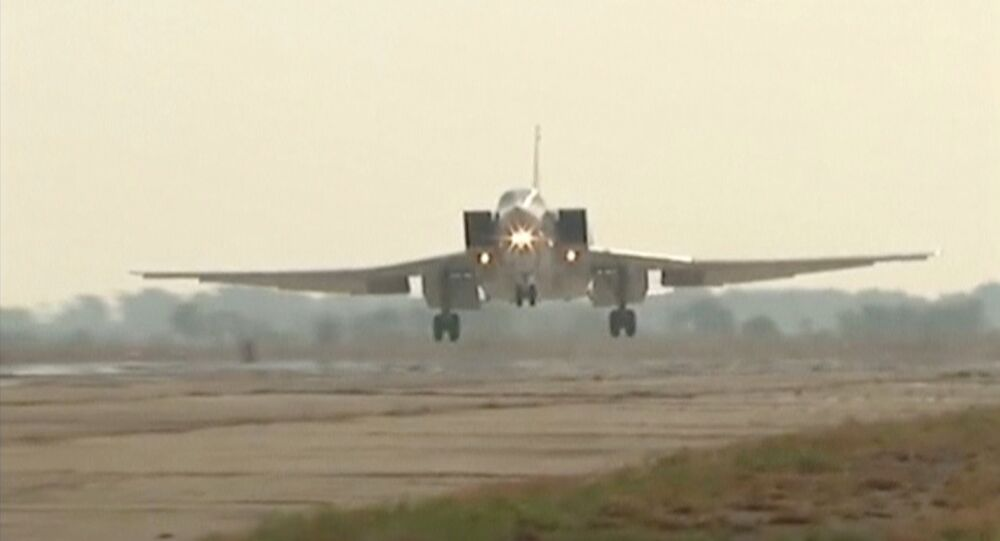 Russian Tupolev Tu-22M3 long-range bomber landing at an air base near the Iranian city of Hamadan