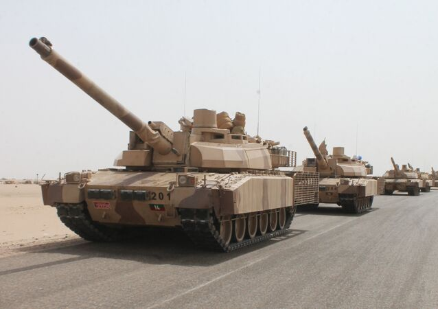 French-made Leclerc tanks of the Saudi-led coalition are deployed on the outskirts of the southern Yemeni port city of Aden on August 3, 2015, during a military operation against Shiite Huthi rebels and their allies