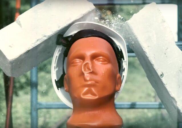 Helmet against construction plate