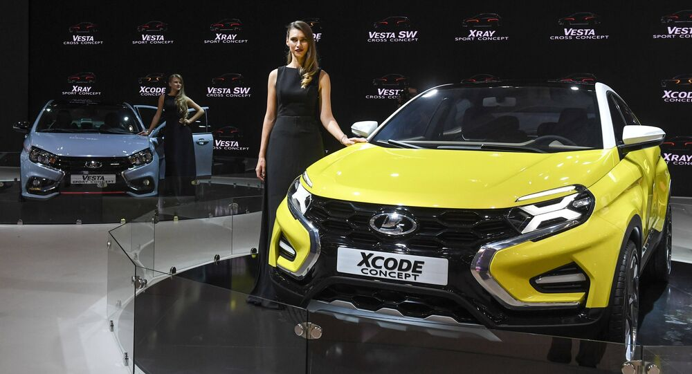 A Lada XCode at the 2016 Moscow International Automobile Salon at Crocus Expo in Moscow